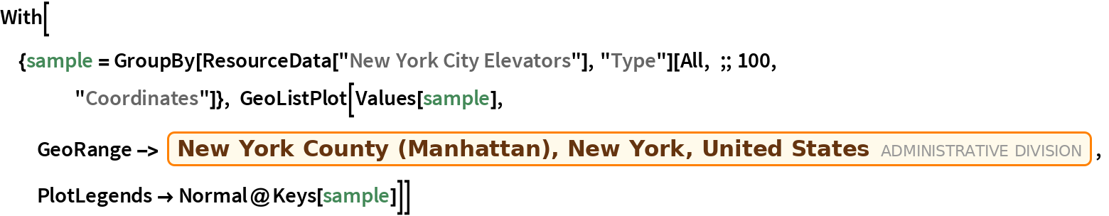 "With[{sample = GroupBy[ResourceData[""New York City Elevators""], ""Type""][     All, ;; 100, ""Coordinates""]}, GeoListPlot[Values[sample],   GeoRange -> Entity[""AdministrativeDivision"", {""NewYorkCounty"", ""NewYork"", ""UnitedStates""}],   PlotLegends -> Normal@Keys[sample]]]"
