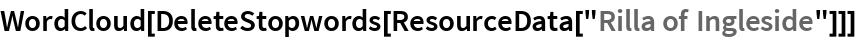 "WordCloud[DeleteStopwords[ResourceData[""Rilla of Ingleside""]]]"