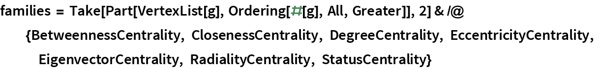 families = Take[Part[VertexList[g], Ordering[#[g], All, Greater]], 2] & /@ {BetweennessCentrality, ClosenessCentrality, DegreeCentrality, EccentricityCentrality, EigenvectorCentrality, RadialityCentrality, StatusCentrality}