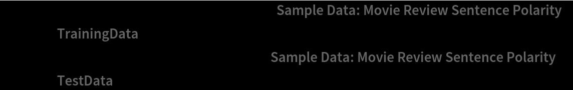 "trainData = RandomSample[    ResourceData[""Sample Data: Movie Review Sentence Polarity"", ""TrainingData""], 1000]; testData = RandomSample[    ResourceData[""Sample Data: Movie Review Sentence Polarity"", ""TestData""], 100];"