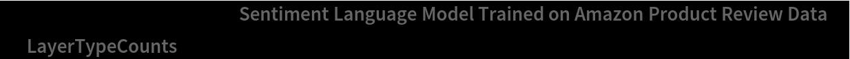 "NetInformation[  NetModel[""Sentiment Language Model Trained on Amazon Product Review \ Data""], ""LayerTypeCounts""]"