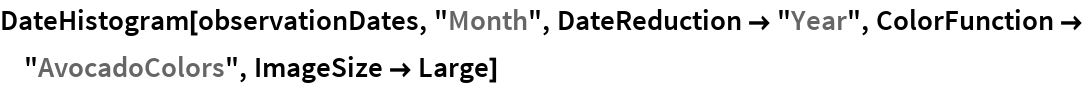 "DateHistogram[observationDates, ""Month"", DateReduction -> ""Year"", \ ColorFunction -> ""AvocadoColors"", ImageSize -> Large]"