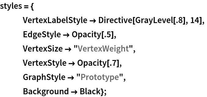 "styles = {    VertexLabelStyle -> Directive[GrayLevel[.8], 14],    EdgeStyle -> Opacity[.5],    VertexSize -> ""VertexWeight"",    VertexStyle -> Opacity[.7],    GraphStyle -> ""Prototype"",    Background -> Black};"