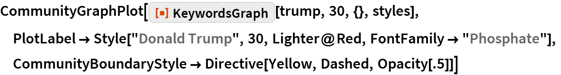 "CommunityGraphPlot[  ResourceFunction[""KeywordsGraph""][trump, 30, {}, styles],  PlotLabel -> Style[""Donald Trump"", 30, Lighter@Red, FontFamily -> ""Phosphate""],  CommunityBoundaryStyle -> Directive[Yellow, Dashed, Opacity[.5]]]"