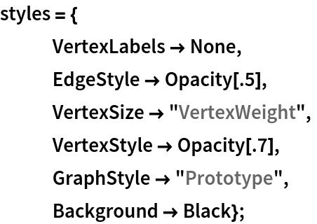 "styles = {    VertexLabels -> None,    EdgeStyle -> Opacity[.5],    VertexSize -> ""VertexWeight"",    VertexStyle -> Opacity[.7],    GraphStyle -> ""Prototype"",    Background -> Black};"