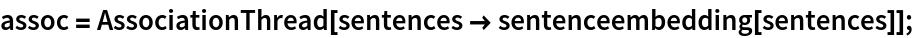 assoc = AssociationThread[sentences -> sentenceembedding[sentences]];