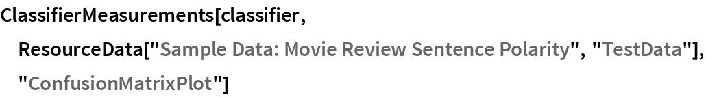 "ClassifierMeasurements[classifier, ResourceData[""Sample Data: Movie Review Sentence Polarity"", ""TestData""], ""ConfusionMatrixPlot""]"
