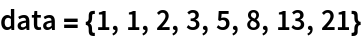 data = {1, 1, 2, 3, 5, 8, 13, 21}