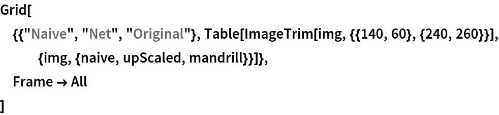 "Grid[  {{""Naive"", ""Net"", ""Original""}, Table[ImageTrim[     img, {{140, 60}, {240, 260}}], {img, {naive, upScaled, mandrill}}]},  Frame -> All  ]"