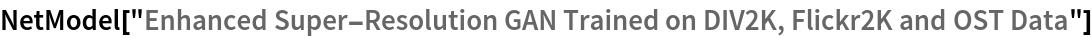 "NetModel[""Enhanced Super-Resolution GAN Trained on DIV2K, Flickr2K \ and OST Data""]"