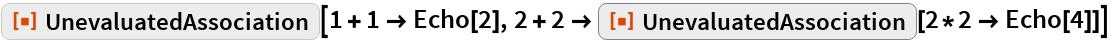 """ResourceFunction[""""UnevaluatedAssociation""""][1 + 1 -> Echo[2], 2 + 2 -> ResourceFunction[""""UnevaluatedAssociation""""][2*2 -> Echo[4]]]"""