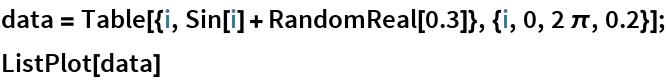 data = Table[{i, Sin[i] + RandomReal[0.3]}, {i, 0, 2 \[Pi], 0.2}]; ListPlot[data]