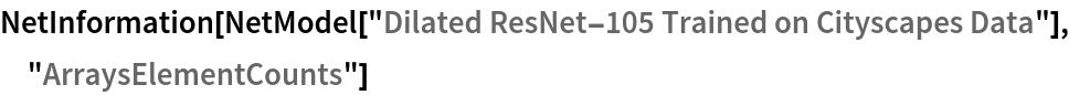 "NetInformation[  NetModel[""Dilated ResNet-105 Trained on Cityscapes Data""], \ ""ArraysElementCounts""]"