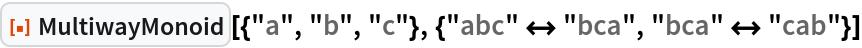 "ResourceFunction[  ""MultiwayMonoid""][{""a"", ""b"", ""c""}, {""abc"" <-> ""bca"", ""bca"" <-> ""cab""}]"