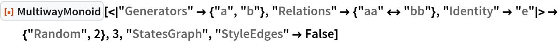 "ResourceFunction[  ""MultiwayMonoid""][<|""Generators"" -> {""a"", ""b""}, ""Relations"" -> {""aa"" <-> ""bb""}, ""Identity"" -> ""e""|> -> {""Random"", 2}, 3, ""StatesGraph"", ""StyleEdges"" -> False]"