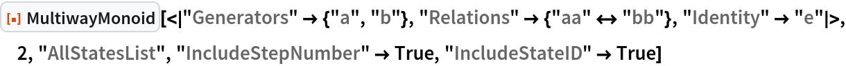 "ResourceFunction[  ""MultiwayMonoid""][<|""Generators"" -> {""a"", ""b""}, ""Relations"" -> {""aa"" <-> ""bb""}, ""Identity"" -> ""e""|>, 2, ""AllStatesList"", ""IncludeStepNumber"" -> True, ""IncludeStateID"" -> True]"