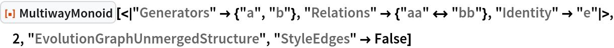 "ResourceFunction[  ""MultiwayMonoid""][<|""Generators"" -> {""a"", ""b""}, ""Relations"" -> {""aa"" <-> ""bb""}, ""Identity"" -> ""e""|>, 2, ""EvolutionGraphUnmergedStructure"", ""StyleEdges"" -> False]"