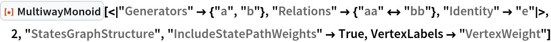 "ResourceFunction[  ""MultiwayMonoid""][<|""Generators"" -> {""a"", ""b""}, ""Relations"" -> {""aa"" <-> ""bb""}, ""Identity"" -> ""e""|>, 2, ""StatesGraphStructure"", ""IncludeStatePathWeights"" -> True, VertexLabels -> ""VertexWeight""]"
