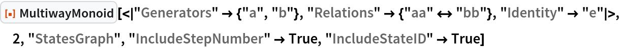 "ResourceFunction[  ""MultiwayMonoid""][<|""Generators"" -> {""a"", ""b""}, ""Relations"" -> {""aa"" <-> ""bb""}, ""Identity"" -> ""e""|>, 2, ""StatesGraph"", ""IncludeStepNumber"" -> True, ""IncludeStateID"" -> True]"