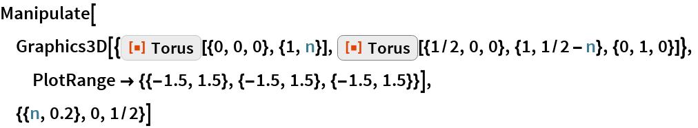 "Manipulate[  Graphics3D[{ResourceFunction[""Torus""][{0, 0, 0}, {1, n}], ResourceFunction[""Torus""][{1/2, 0, 0}, {1, 1/2 - n}, {0, 1, 0}]},   PlotRange -> {{-1.5, 1.5}, {-1.5, 1.5}, {-1.5, 1.5}}],  {{n, 0.2}, 0, 1/2}]"