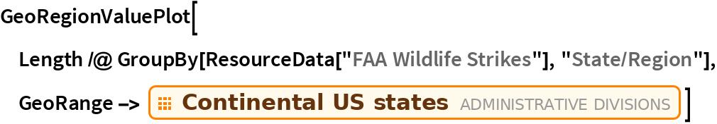"GeoRegionValuePlot[  Length /@ GroupBy[ResourceData[""FAA Wildlife Strikes""], ""State/Region""], GeoRange -> EntityClass[""AdministrativeDivision"", ""ContinentalUSStates""]]"