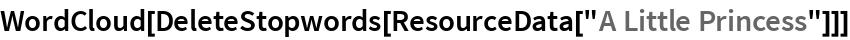 """WordCloud[DeleteStopwords[ResourceData[""""A Little Princess""""]]]"""