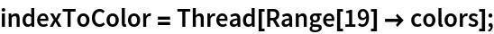 indexToColor = Thread[Range[19] -> colors];