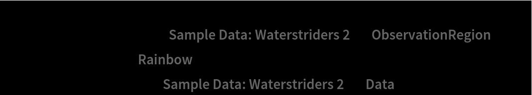 "Show[ContourPlot[density[{x, y}], {x, y} \[Element] ResourceData[\!\(\* TagBox[""\""\<Sample Data: Waterstriders 2\>\"""", #& , BoxID -> ""ResourceTag-Sample Data: Waterstriders 2-Input"", AutoDelete->True]\), ""ObservationRegion""], ColorFunction -> ""Rainbow""], ListPlot[ResourceData[\!\(\* TagBox[""\""\<Sample Data: Waterstriders 2\>\"""", #& , BoxID -> ""ResourceTag-Sample Data: Waterstriders 2-Input"", AutoDelete->True]\), ""Data""], PlotStyle -> Black]]"