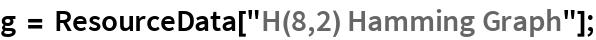 "g = ResourceData[""H(8,2) Hamming Graph""];"