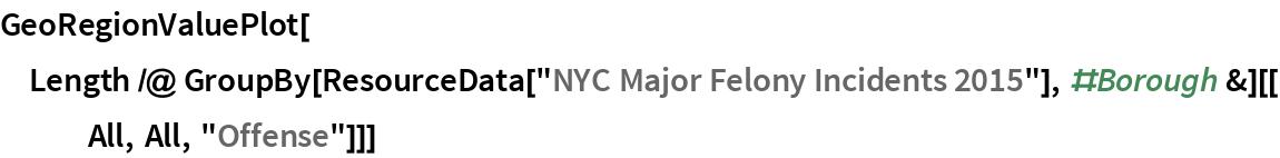 "GeoRegionValuePlot[  Length /@ GroupBy[ResourceData[      ""NYC Major Felony Incidents 2015""], #Borough &][[All, All, ""Offense""]]]"