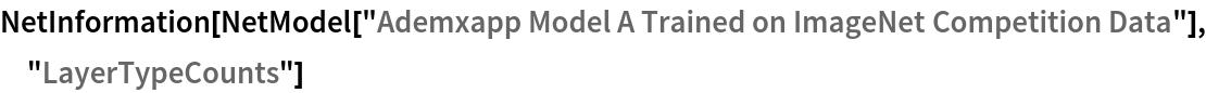 "NetInformation[  NetModel[""Ademxapp Model A Trained on ImageNet Competition Data""], \ ""LayerTypeCounts""]"