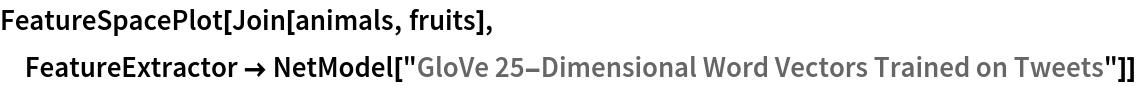 "FeatureSpacePlot[Join[animals, fruits], FeatureExtractor -> NetModel[""GloVe 25-Dimensional Word Vectors Trained on Tweets""]]"