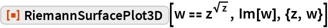 """ResourceFunction[""""RiemannSurfacePlot3D""""][w == z^Sqrt[z], Im[w], {z, w}]"""