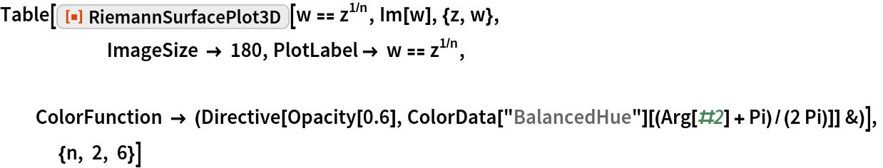 "Table[ResourceFunction[""RiemannSurfacePlot3D""][w == z^(1/n), Im[w], {z, w},                        ImageSize -> 180, PlotLabel -> w == z^(1/n), ColorFunction -> (Directive[Opacity[0.6], ColorData[""BalancedHue""][(Arg[#2] + Pi)/(2 Pi)]] &)],              {n, 2, 6}]"