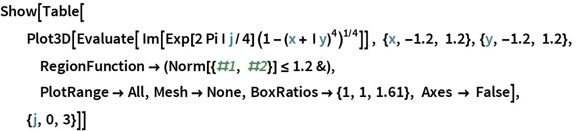 Show[Table[   Plot3D[Evaluate[ Im[Exp[2 Pi I j/4] (1 - (x + I y)^4)^(1/4)]] , {x, -1.2, 1.2}, {y, -1.2, 1.2},    RegionFunction -> (Norm[{#1, #2}] <= 1.2 &),    PlotRange -> All, Mesh -> None, BoxRatios -> {1, 1, 1.61}, Axes -> False],   {j, 0, 3}]]