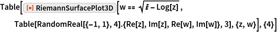 """Table[ResourceFunction[""""RiemannSurfacePlot3D""""][w == Sqrt[I - Log[z]], Table[RandomReal[{-1, 1}, 4].{Re[z], Im[z], Re[w], Im[w]}, 3], {z, w}], {4}]"""