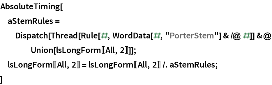 "AbsoluteTiming[  aStemRules = Dispatch[Thread[Rule[#, WordData[#, ""PorterStem""] & /@ #]] &@     Union[lsLongForm[[All, 2]]]];  lsLongForm[[All, 2]] = lsLongForm[[All, 2]] /. aStemRules;  ]"