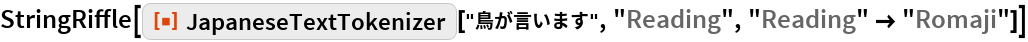 "StringRiffle[  ResourceFunction[""JapaneseTextTokenizer""][""鳥が言います"", ""Reading"", ""Reading"" -> ""Romaji""]]"