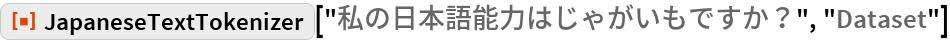 """ResourceFunction[  """"JapaneseTextTokenizer""""][""""私の日本語能力はじゃがいもですか?"""", """"Dataset""""]"""