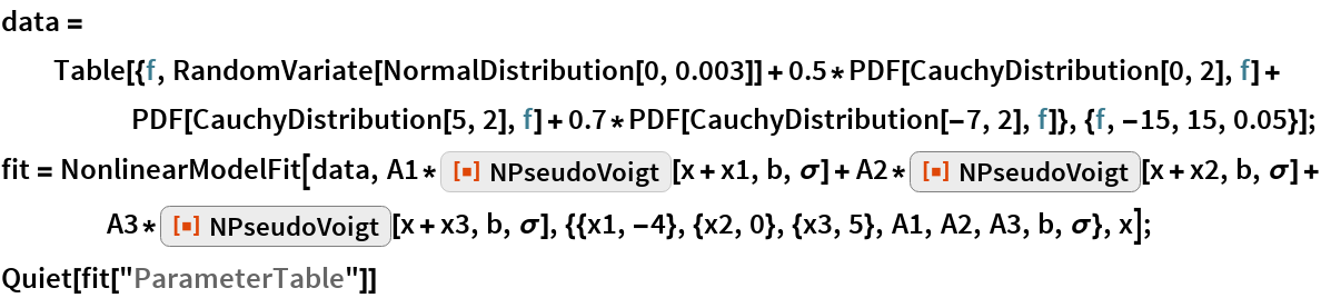"data = Table[{f, RandomVariate[NormalDistribution[0, 0.003]] + 0.5*PDF[CauchyDistribution[0, 2], f] + PDF[CauchyDistribution[5, 2], f] + 0.7*PDF[CauchyDistribution[-7, 2], f]}, {f, -15, 15, 0.05}]; fit = NonlinearModelFit[data, A1*ResourceFunction[""NPseudoVoigt""][x + x1, b, \[Sigma]] + A2*ResourceFunction[""NPseudoVoigt""][x + x2, b, \[Sigma]] + A3*ResourceFunction[""NPseudoVoigt""][x + x3, b, \[Sigma]], {{x1, -4}, {x2, 0}, {x3, 5}, A1, A2, A3, b, \[Sigma]}, x]; Quiet[fit[""ParameterTable""]]"