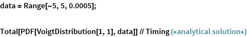 data = Range[-5, 5, 0.0005];  Total[PDF[VoigtDistribution[1, 1], data]] // Timing (*analytical solution*)