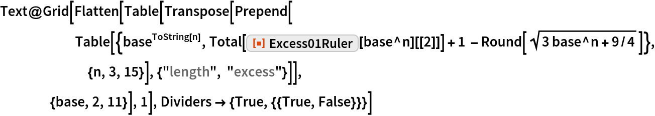 """Text@Grid[Flatten[Table[Transpose[Prepend[       Table[{base^ToString[n], Total[ResourceFunction[""""Excess01Ruler""""][base^n][[2]]] + 1 - Round[Sqrt[3 base^n + 9/4]]}, {n, 3, 15}], {""""length"""", """"excess""""}]],     {base, 2, 11}], 1], Dividers -> {True, {{True, False}}}]"""