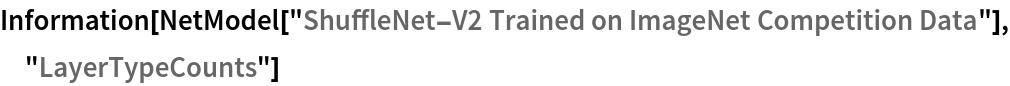 "Information[  NetModel[""ShuffleNet-V2 Trained on ImageNet Competition Data""], \ ""LayerTypeCounts""]"