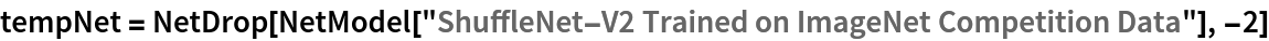 "tempNet = NetDrop[NetModel[    ""ShuffleNet-V2 Trained on ImageNet Competition Data""], -2]"