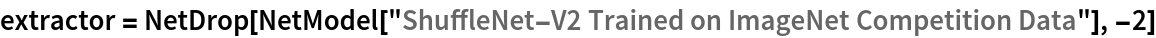 "extractor = NetDrop[NetModel[    ""ShuffleNet-V2 Trained on ImageNet Competition Data""], -2]"