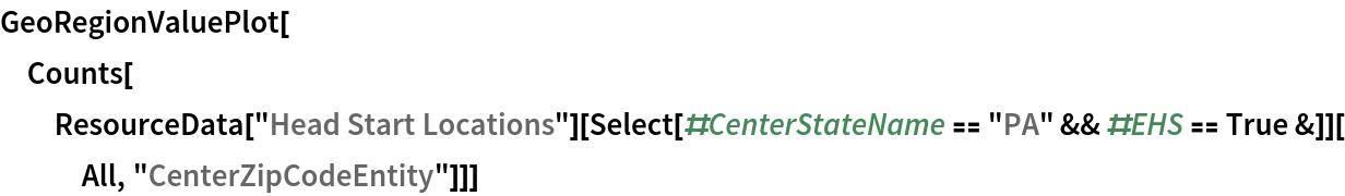 "GeoRegionValuePlot[  Counts[ResourceData[""Head Start Locations""][     Select[#CenterStateName == ""PA"" && #EHS == True &]][All, ""CenterZipCodeEntity""]]]"