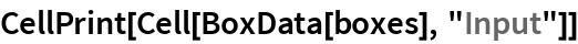 "CellPrint[Cell[BoxData[boxes], ""Input""]]"