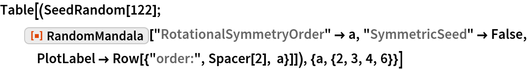 "Table[(SeedRandom[122]; ResourceFunction[""RandomMandala""][""RotationalSymmetryOrder"" -> a, ""SymmetricSeed"" -> False, PlotLabel -> Row[{""order:"", Spacer[2], a}]]), {a, {2, 3, 4, 6}}]"