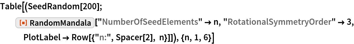 """Table[(SeedRandom[200]; ResourceFunction[""""RandomMandala""""][""""NumberOfSeedElements"""" -> n, """"RotationalSymmetryOrder"""" -> 3, PlotLabel -> Row[{""""n:"""", Spacer[2], n}]]), {n, 1, 6}]"""