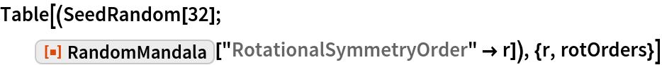 """Table[(SeedRandom[32]; ResourceFunction[""""RandomMandala""""][    """"RotationalSymmetryOrder"""" -> r]), {r, rotOrders}]"""